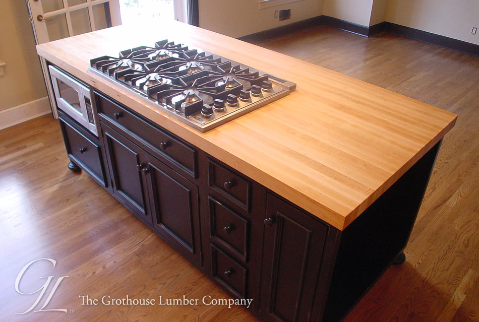 Custom Hard Maple Wood Countertop With Stove Cut Out Princeton, New Jersey