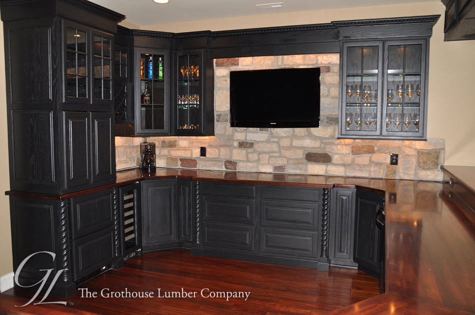 Maple Custom Stained Wood Bar Top In Maryland