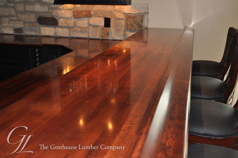 Maple Custom Stained Wood Bar Top in Churchville, Maryland