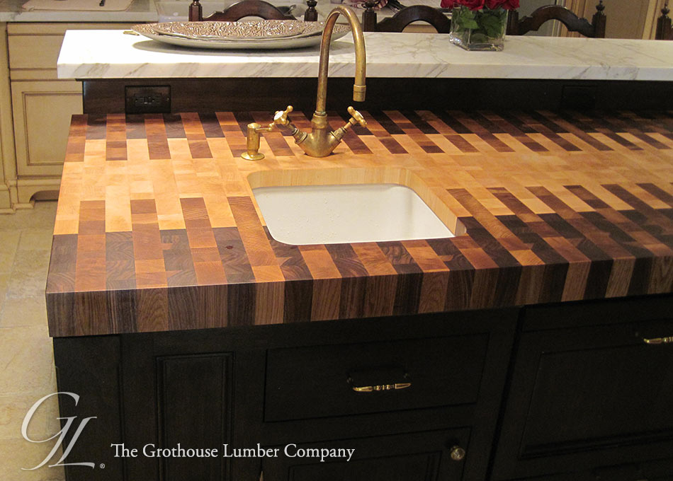 Custom Interlocked Pattern on a Butcher Block Countertop