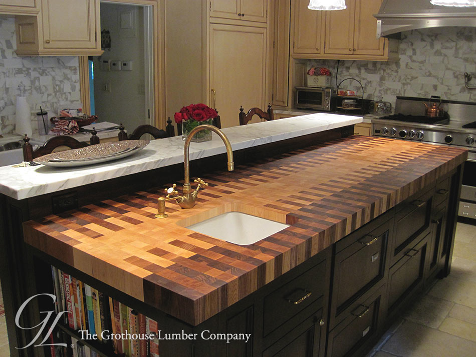 ... , Maple, and White Oak Interlocked Pattern Butcher Block Countertop