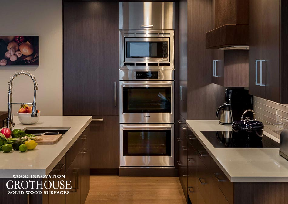 A Contemporary Kitchen Design by Past Basket includes a Grothouse Peruvian Walnut Kitchen Bar Top