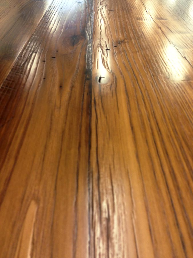 Reclaimed Chestnut Wood Counter Pastore Style in VA - Reclaimed Chestnut Pastore Waterfall Counter In Virginia
