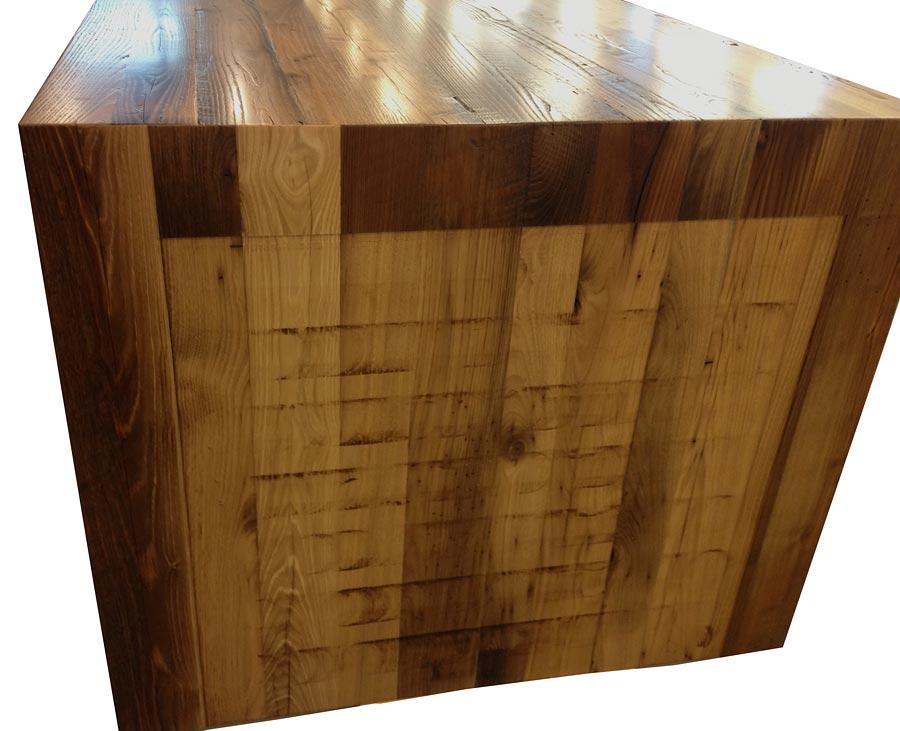 Pastore Waterfall Wood Counter Reclaimed Chestnut in VA - Reclaimed Chestnut Pastore Waterfall Counter In Virginia