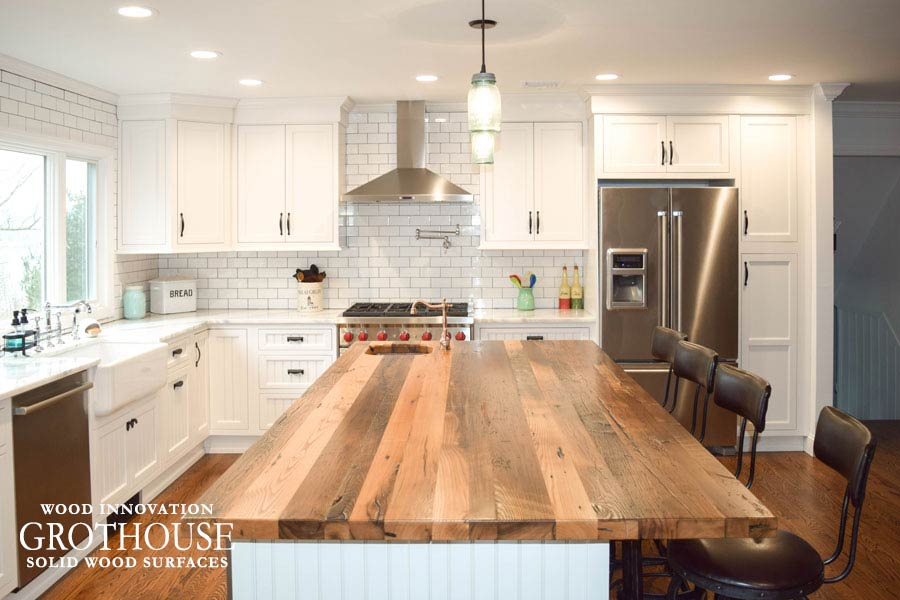 Reclaimed Chestnut Kitchen Island Top for a modern farmhouse kitchen in Sea Cliff, NY