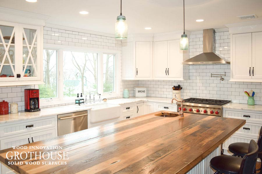 Reclaimed Chestnut Counter for Kitchen Island in a modern farmhouse kitchen in Sea Cliff, NY