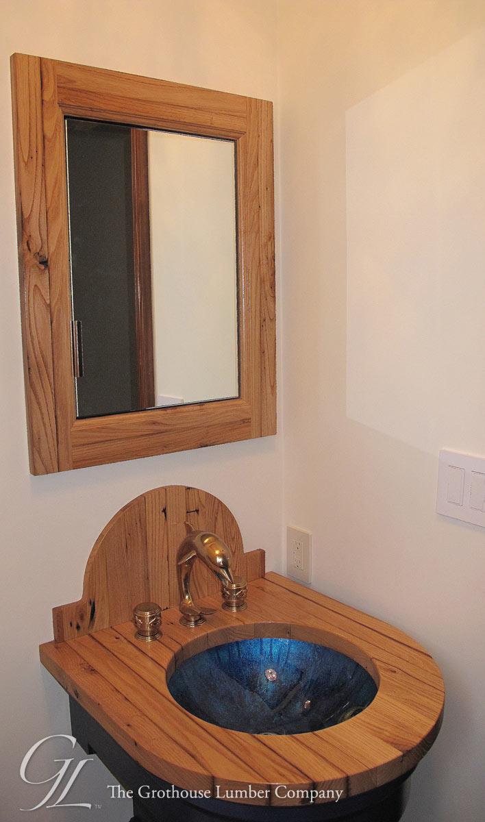 Custom Reclaimed Chestnut Bathroom Vanity in Hobe Sound, Florida - Reclaimed Chestnut Bathroom Vanity In Hobe Sound, Florida