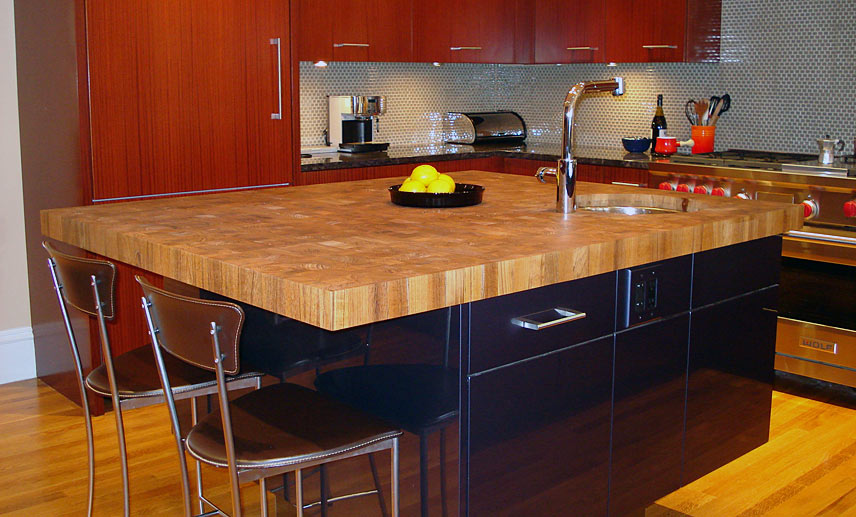 Custom Teak Butcher Block Countertop In Boston Massachusetts