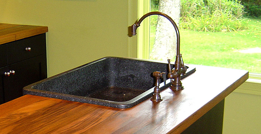 Custom Teak Wood Countertop with overmount sink