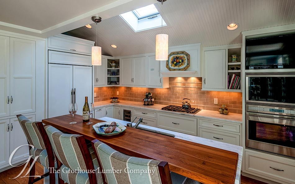 Custom Teak Raised Kitchen Bar Top In Boston Ma By Grothouse