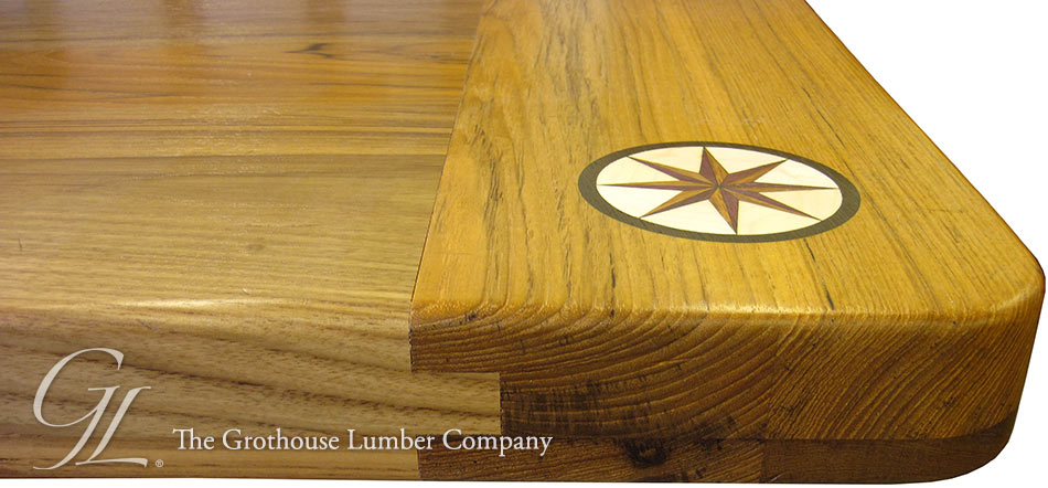 Custom Teak Wood Counter with Inlays in New Jersey