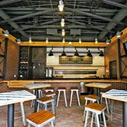 Douglas Fir Wood Bar Top at Lucky Dorr Bar at Wrigley Field in Chicago Illinois