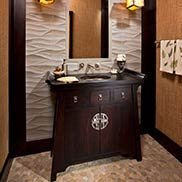 Stained Cherry Powder Room Vanity Top for an Asian-inspired design in Saratoga Springs, NY