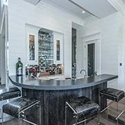Anvil Ferrum Metal Bar Top for an eclectic living room in Mount Pleasant, South Carolina