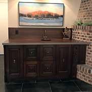 Custom Sapele Mahogany Bar Counter located in Fargo, North Dakota includes a Native Trails undermount sink