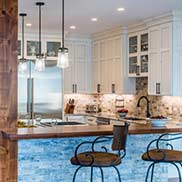 A walnut all heartwood kitchen countertop in a traditional kitchen design with neutral and warm colors