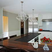 Stained Walnut Kitchen Bar Top for a white transitional kitchen in Lawrenceville, New Jersey