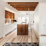 Walnut Pastore Kitchen Island Countertop for a White Kitchen in Somerville, Massachusetts