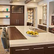 Wenge Wood Kitchen Countertops with complimentary white kitchen countertops and white kitchen cabinetry in Minneapolis, Minnesota