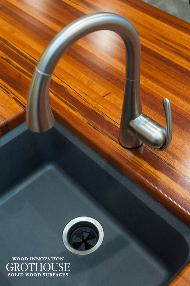 Tigerwood Kitchen Countertop with an undermount sink