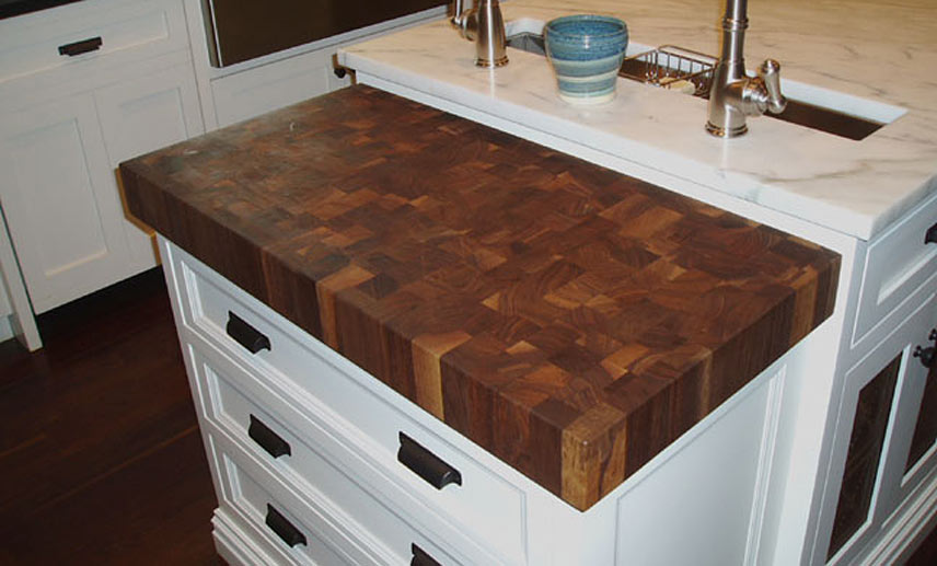 White Kitchen Island With Walnut Butcher Block Countertop : Custom Walnut Butcher Block Countertop Whippany New Jersey