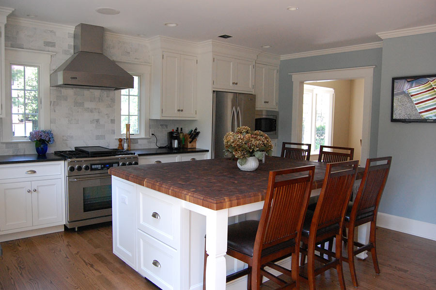 White Kitchen Island With Walnut Butcher Block Countertop : Custom Walnut Butcher Block Countertop Ridgewood, New Jersey