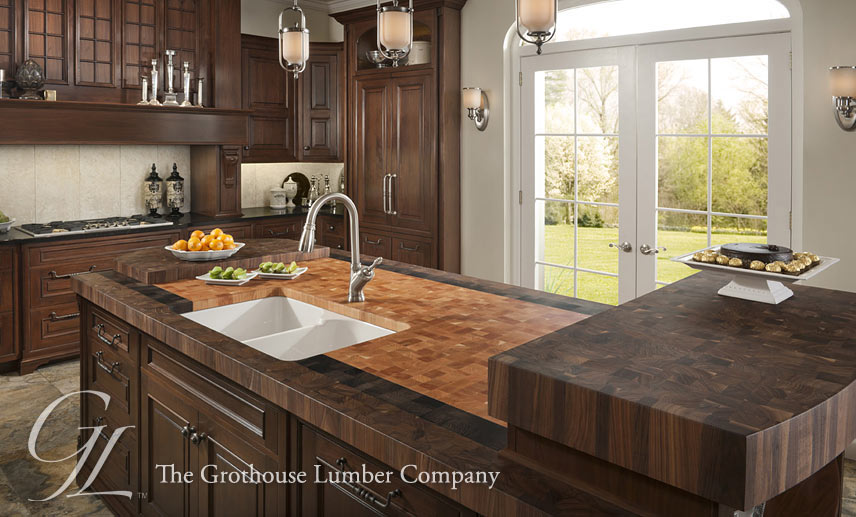 Custom Wood Butcher Block Countertops with Undermount Sinks