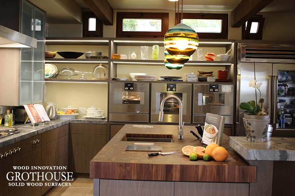 Transitional Kitchen Design with a Preparation Area made of a Walnut with Sapwood Butcher Block Countertop
