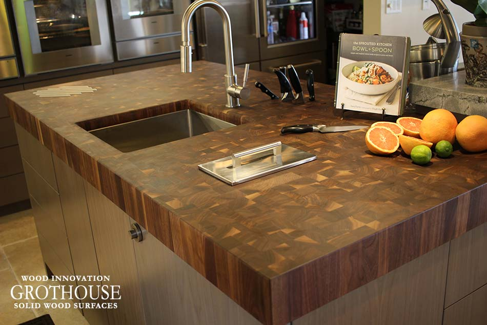 A Walnut with Sapwood Butcher Block Countertop creates a Food Prepping Area in a Small Kitchen