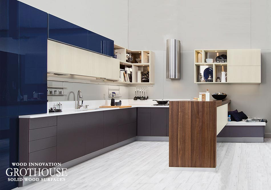 A Walnut Wood Half Pastore Countertop for KBIS 2017 designed by Welbourn Cabinet in USA