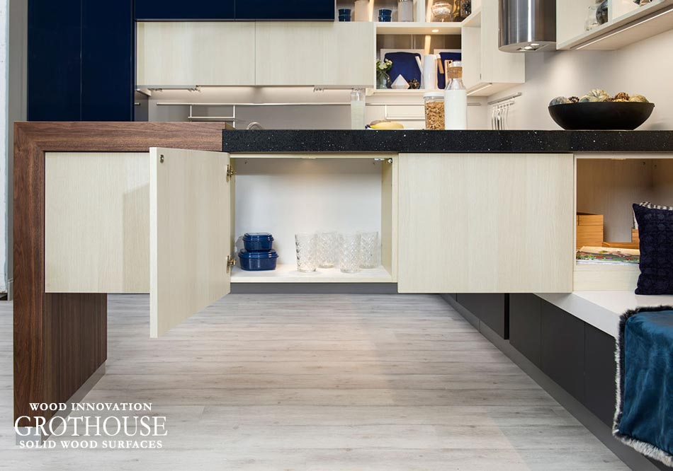 A Walnut Wood Half Pastore Countertop Pairedwith Functional Cabinetry for a Modern Kitchen Design