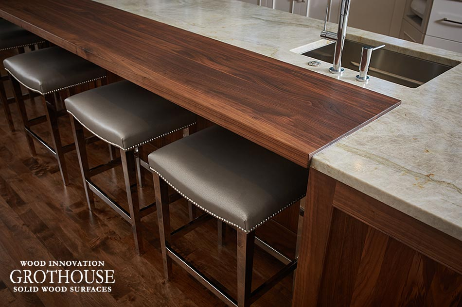 This Kitchen Island Wood Countertop was Made in the USA by Grothouse for a customer in Michigan