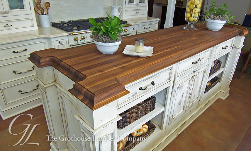 Custom Walnut Wood Kitchen Island