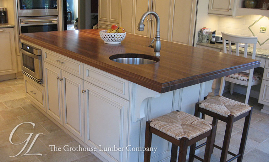 Large Walnut Wood Countertop Kitchen Island in New Jersey