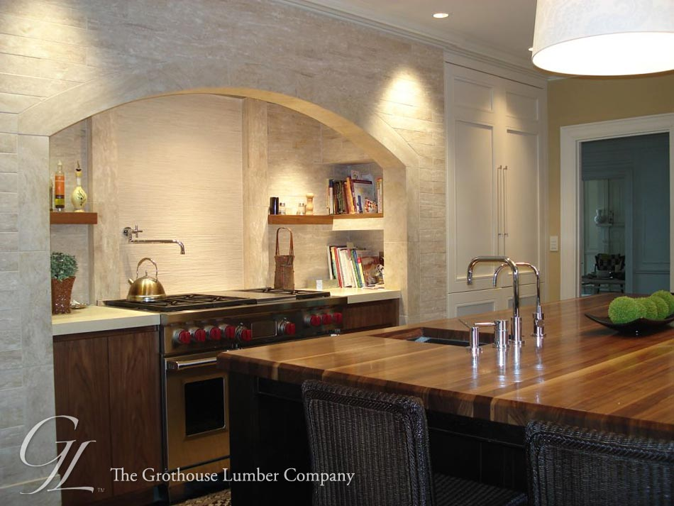 Custom Walnut Wood Countertop In Boston Massachusetts