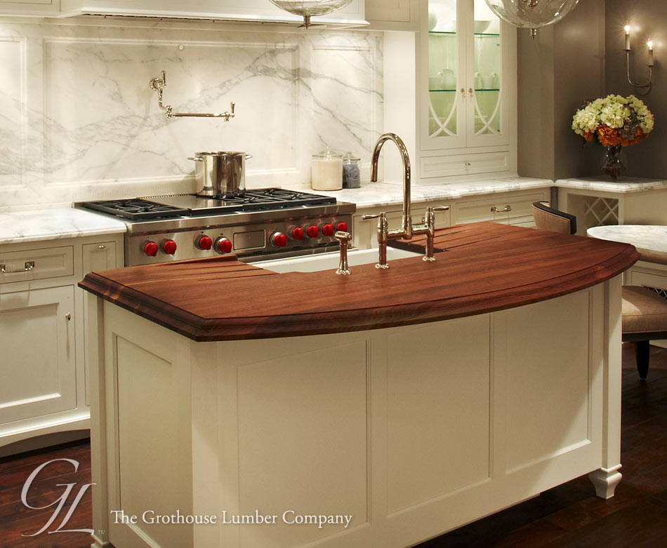 Kitchen Island Countertops : Walnut wood countertop kitchen island in chicago