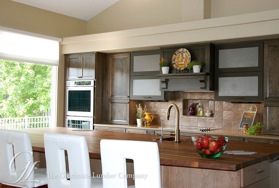 Walnut Kitchen Island Countertop with Sink in ND