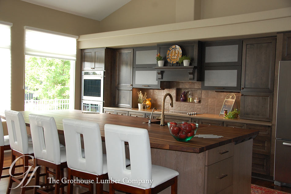 Walnut Countertop used for large kitchen island