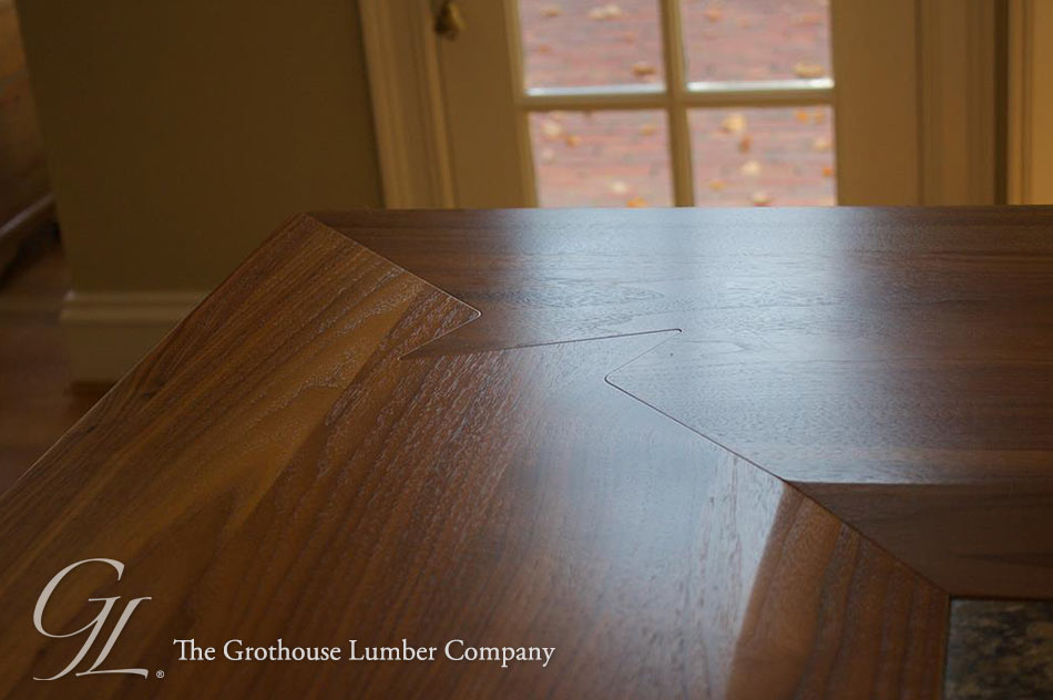 Custom Walnut Wood Countertop with Shark Tooth Miter Joint