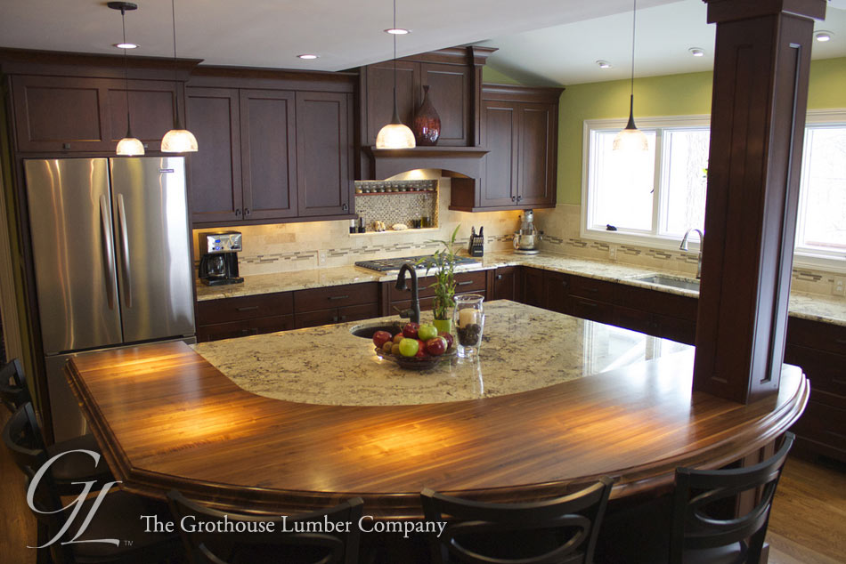 Custom Walnut Countertop designed by Auer Kitchens in Ohio