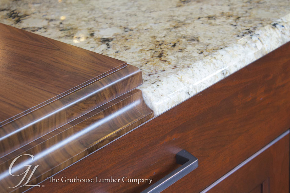 Walnut Countertop with Granite Counter for Kitchen Island