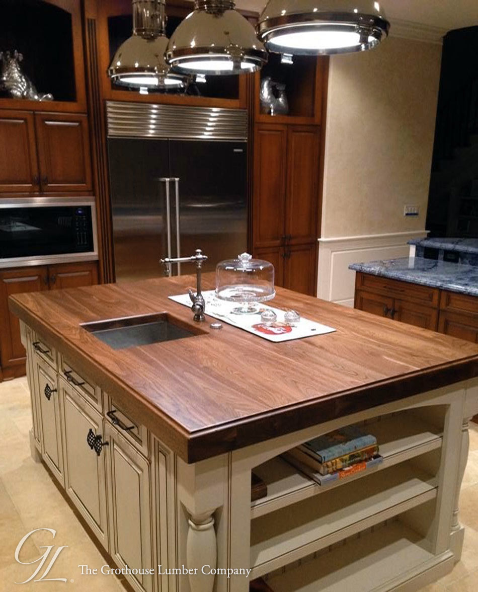 Custom Distressed Walnut Wood Counter For Kitchen Island In Florida