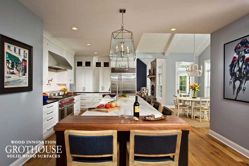 Walnut Wood Kitchen Island Ends paired with a marble countertop in Saratoga Springs, New York