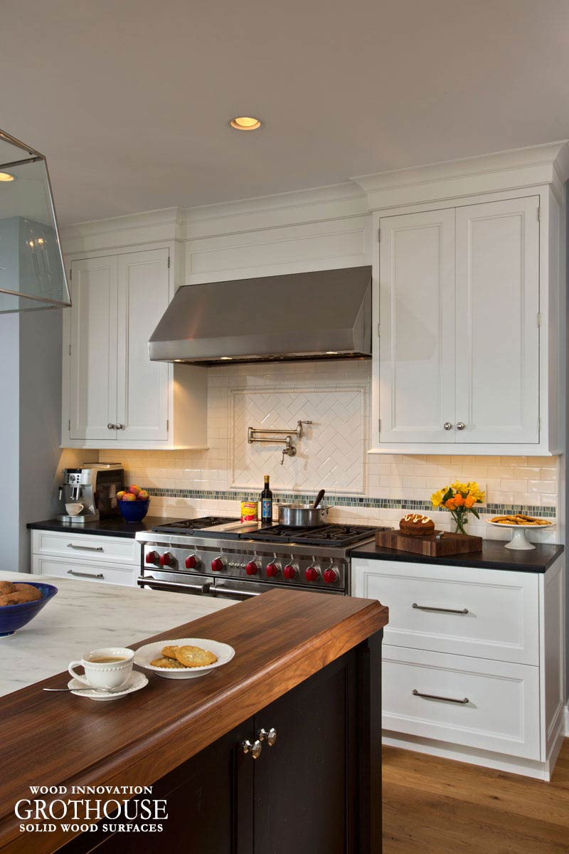 Large Kitchen Island with Walnut Wood Countertops for Ends in Saratoga Springs, New York