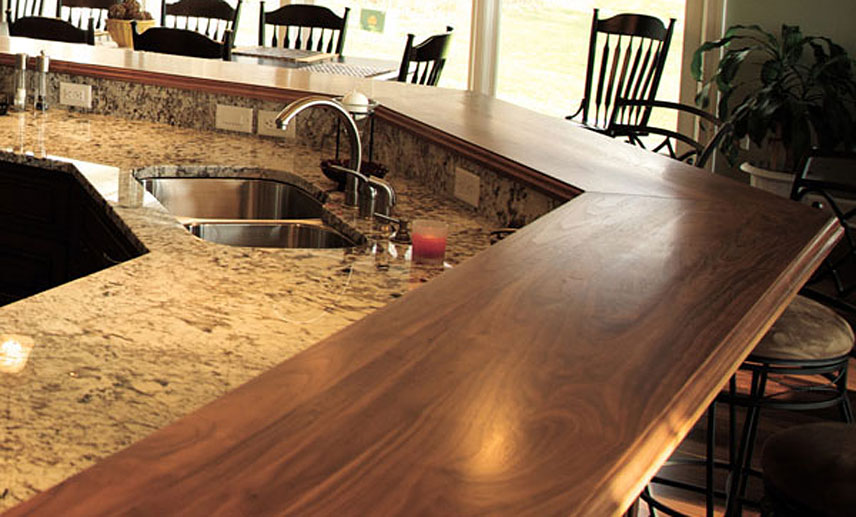 Walnut wood raised breakfast bar countertops in virginia for What to use for a bar top