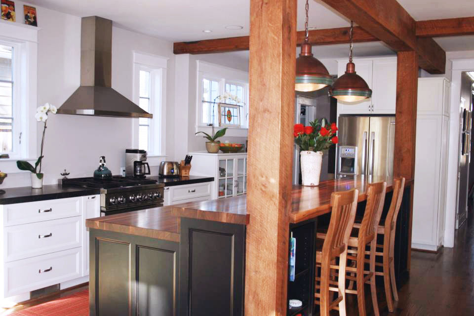 Custom walnut wood countertops in chevy chase maryland for Bar island kitchen designs