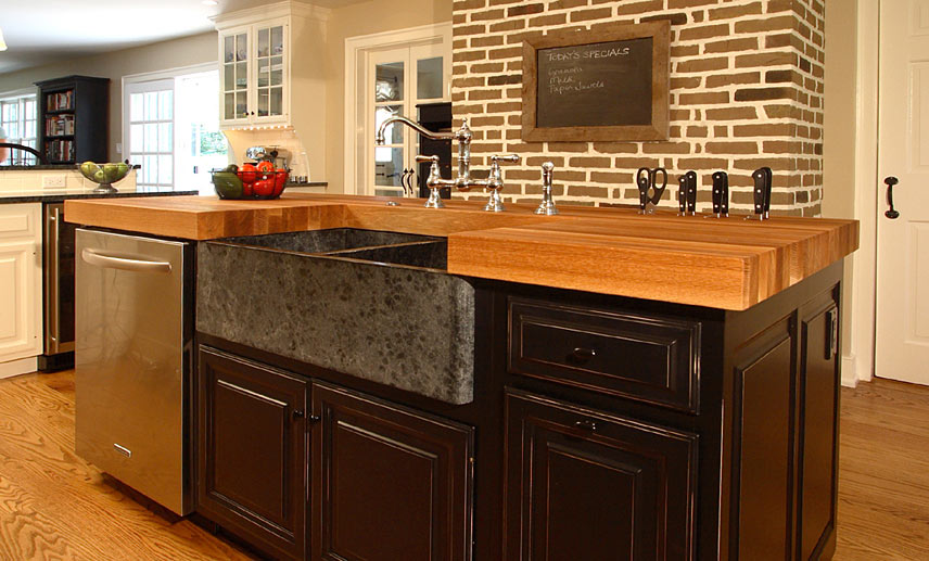 Oak Wood Kitchen Island Counter in Bryn Mawr, Pennsylvania