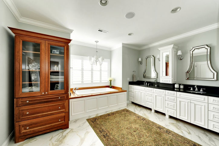 ... Wood Bathroom Countertops In The Space. Plantation Teak Tub Surround