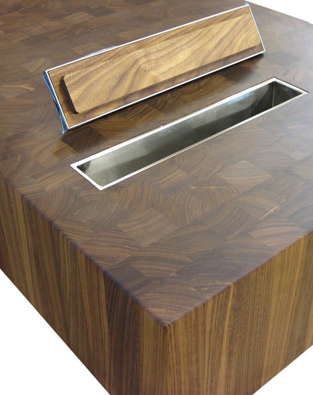 Custom Butcher Block Countertop with Trash Hole Photo