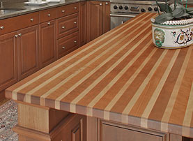 American Beech and Cherry Striped Wood Countertop